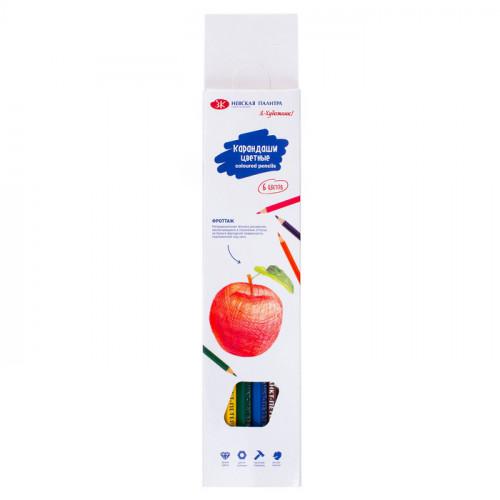Набор цветных шестигранных карандашей, 6 цветов, картон