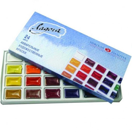 Набор акварели «Ладога» из 24 цветов в картонной коробке