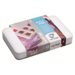 """Набор акварельных красок Van Gogh """"Pinks&Violets"""" (розовые и фиолетовые) 12 кювет + кисть пластиковый короб"""
