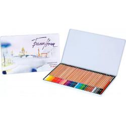 Белые Ночи Набор акварельных карандашей с кистью, 36 цветов, в жестяном пенале