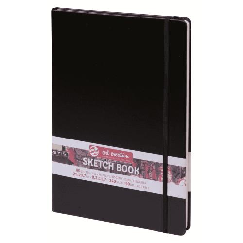 Блокнот для зарисовок Art Creation 140 г/кв 21*29,7 см 80 л. твердая обложка черный