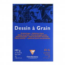 Блокнот для рисования DESSIN GRAIN 180г/м.кв А4 30л склейка, белая бумага, синий.