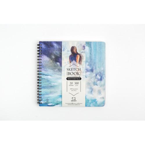 "Альбом для акварели Малевичъ ""Waterfall"", 300 г/м2, 19х19 см, 20л"