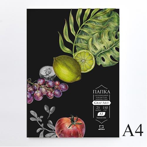 Папка с бумагой для сухих техник GrafArt Black 150 г, A4, 25 л