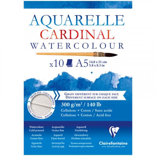 Альбом склейка для акварели Clairefontaine Cardinal, 300г/м2, 10л, А5, хлопок