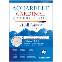 Альбом склейка для акварели Clairefontaine Cardinal, 300г/м2, 10л, А4, хлопок