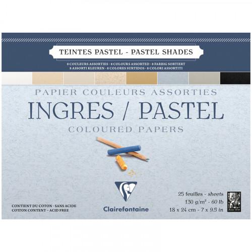 Альбом для пастели Clairefontaine Ingres, 130г/м2, 25л, 18*24см, верже, хлопок