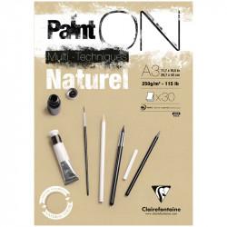 Альбом для смешанных техник Clairefontaine PAINT ON Naturel, 250г/м2, 30л, А3, крафт