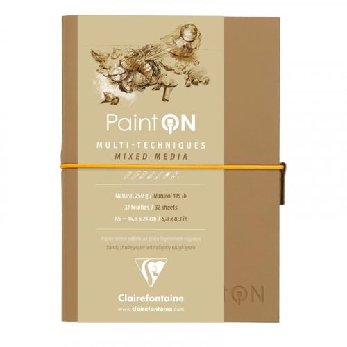 Скетчбук для смешанных техник Clairefontaine Paint ON, 250г/м2, 32л, А5, легкое зерно, натуральный