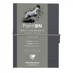 Скетчбук для смешанных техник Clairefontaine Paint ON, 250г/м2, 32л, А5, легкое зерно, серый