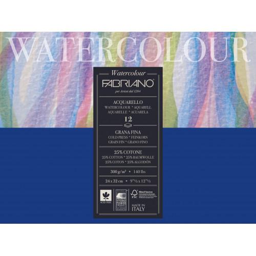 Альбом для акварели Watercolour Studio 300г/м.кв 24x32 см Фин 12л склейка, 25% хлопка