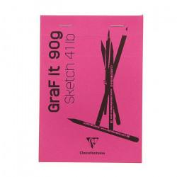 Блокнот для сухих техник GRAFT IT, 90г/м., кв А4, 80л склейка, перфорация, розовый.