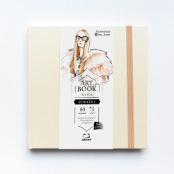 "Скетчбук Малевичъ для маркеров ""Fashion"", кремовый, 75 г/м, 15х15, 80л"