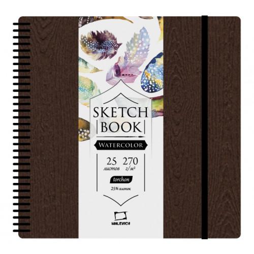 """Скетчбук Малевичъ для акварели """"Brown wood"""", Torchon, 270 г/м, 21х21, 25л"""