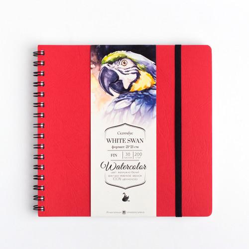 """Скетчбук Малевичъ для акварели """"White Swan"""", красный,Fin, 200 г/м, 21х21, 30л"""