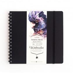 """Скетчбук Малевичъ для акварели """"White Swan"""", черный,Fin, 200 г/м, 21х21, 30л"""