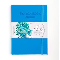 Скетчбук для графики и маркеров White Swan Bristol, голубой, 180 г/м, А5 см, 50л