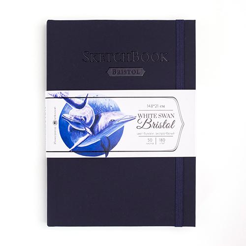 Скетчбук для графики и маркеров White Swan Bristol, индиго, 180 г/м, А5 см, 50л
