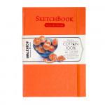 Скетчбук для акварели Малевичъ, 100% хлопок, оранжевый, 300 г/м, 14,5х21 см, 20л