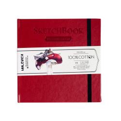 Скетчбук для акварели Малевичъ, 100% хлопок, красный, 300 г/м, 14,5х14,5 см, 20л