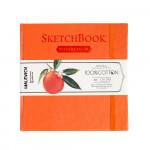 Скетчбук для акварели Малевичъ, 100% хлопок, оранжевый, 300 г/м, 14,5х14,5 см, 20л