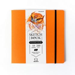 "Скетчбук Малевичъ для акварели ""Shammy"", Fin, оранжевый, 200 г/м, 20х20, 18л"