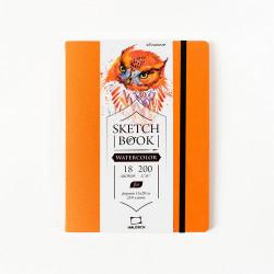 "Скетчбук Малевичъ для акварели ""Shammy"", Fin, оранжевый, 200 г/м, 15х20, 18л"