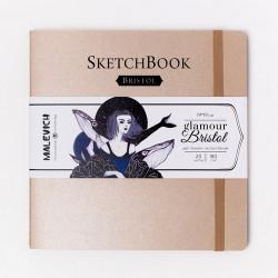 Скетчбук Малевичъ для графики и маркеров Bristol Glamour, бронза, 180 г/м, 19х19 см, 20л