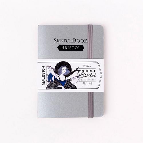 Скетчбук Малевичъ для графики и маркеров Bristol Glamour, серебро, 180 г/м, 10х14 см, 20л