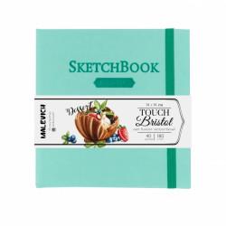 Скетчбук для графики и маркеров Малевичъ Touch Bristol,14x14см, мятный, 180 г/м,  40л
