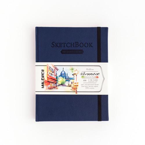 Скетчбук Малевичъ для акварели Veroneze, темно-синий, 200 г/м, 15х20 см, 50л