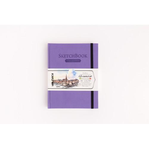 Скетчбук Малевичъ для акварели Veroneze, сиреневый, 200 г/м, 15х20 см, 50л