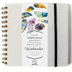 Скетчбук для акварели White Swan, Torchon, серый, 250 г/м, 21х21 см, 25л