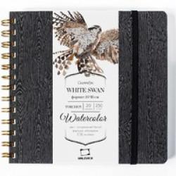 Скетчбук для акварели White Swan, Torchon, черный, 250 г/м, 16х16 см, 25л
