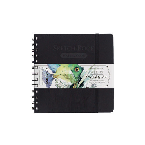 Скетчбук для акварели «White Swan», Малевичъ, черный, Fin, 200 г/м, 16х16 см, 25л