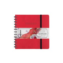 Скетчбук для акварели «White Swan», Малевичъ, красный, Fin, 200 г/м, 16х16 см, 25л