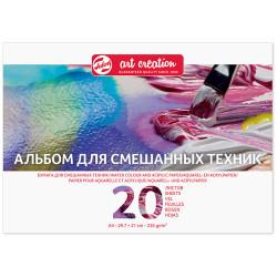 Альбом для смешанных техник Art Creation 235 г/м2, А4, 20л, склейка по 1 стороне