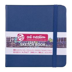 Скетчбук Art Creation 140г/кв.м 12*12см 80л, синий морской
