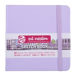 Скетчбук Art Creation 140г/кв.м 12*12см 80л, фиолетовый пастельный