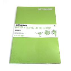 Скетчбук SKETCHMARKER MARKER & GRAPHIC LINE 180г/м.кв 176х250мм 16л мягкая обложка цв. лайм