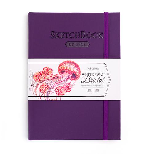 Скетчбук для графики и маркеров White Swan Bristol, фиолетовый, 180 г/м, А5 см, 50л