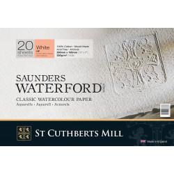 Бумага для акварели Saunders Waterford HP ,100% хлопок, гор.прессование, м/з, 300 г/м², 26x18 см, 20 л, цвет белый