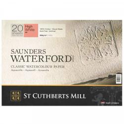 Бумага для акварели Saunders Waterford HP,100% хлопок, м/з, 300 г/м², 31*23 см, экстра белый, 20 листов