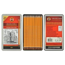 KOH-I-NOOR 1582 (12) Набор профессиональных чернографитных карандашей трехгранных, 6В-6Н, жестяная коробка