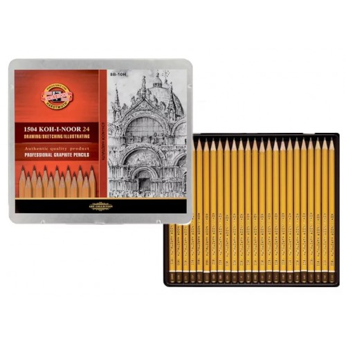 """KOH-I-NOOR 1504 (24) Набор профессиональных чернографитных карандашей """"Art"""" (8B-10H), 24 шт, жестяная коробка"""