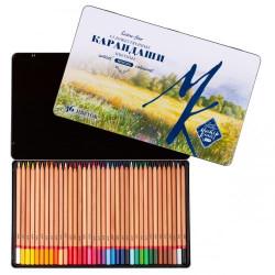 Набор профессиональных цветных карандашей Мастер-класс, 36 цвета в жестяной коробке