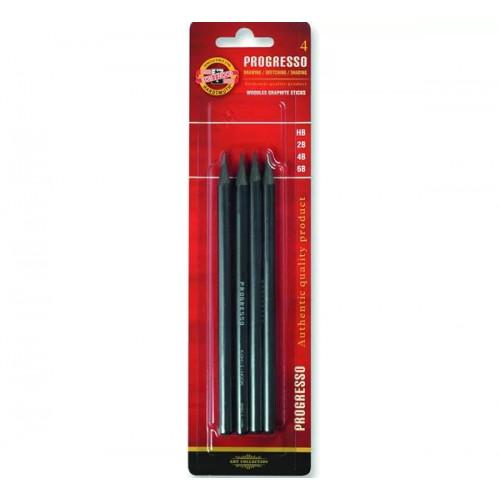 KOH-I-NOOR 8914 (04)Набор чернографитных  карандашей Progresso без дерева, 4 шт (6В, 4В, 2В, HВ), блистер, европодвес