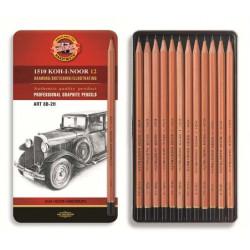 """KOH-I-NOOR 1512N (12) Набор профессиональных чернографитных карандашей """"Art"""", 12 шт, жестяная коробка"""