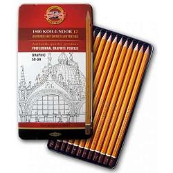 """KOH-I-NOOR 1502/3 (12) Набор профессиональных чернографитных карандашей """"Graphic"""" (5В-5Н), 12 шт, жестяная коро"""