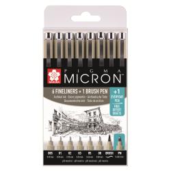 Набор капилярных ручек Pigma Micron 8шт (0.2мм 025мм 0.3мм 0.35мм 0.45мм 0.5мм) Черный + brush+PN
